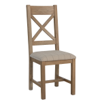 Cross Back Dining Chair Natural Check